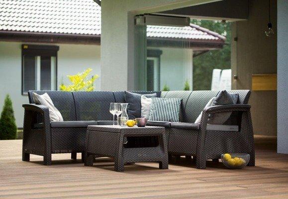 Duży narożnik ogrodowy CORFU Relax - brązowy