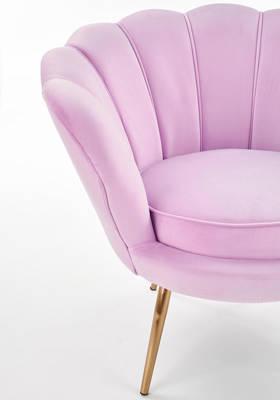 Fotel Glamour MUSZLA AMORINO ze złotymi nogami - fioletowy