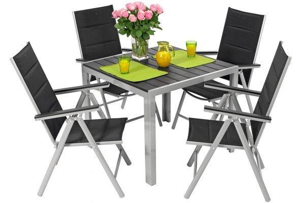 Komplet mebli aluminiowych dla 4 osób MODENA - Czarny