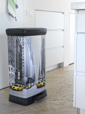 Kosz na śmieci metalizowany CURVER DECOBIN New York 50L