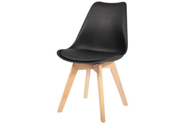 Krzesło do jadalni DSW DAW Eames BOLONIA - czarne z poduszką
