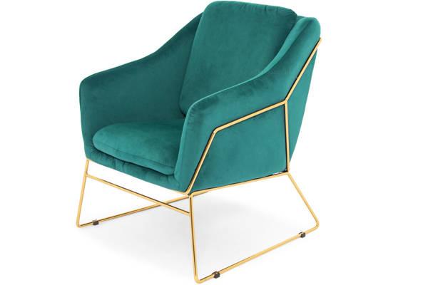Krzesło fotel do salonu loft SOFT GOLD - zielony