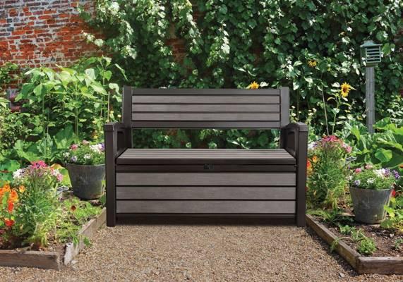 Ławka ogrodowa ze skrzynią HUDSON BENCH 227 l - brąz