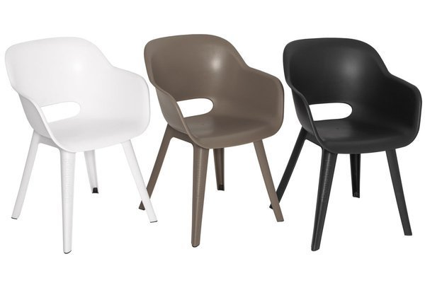 Meble ogrodowe ALLIBERT - 6 krzeseł AKOLA + stół LIMA grafit