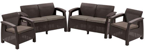 Meble ogrodowe CORFU REST 2 kanapy i 2 fotele - brązowy