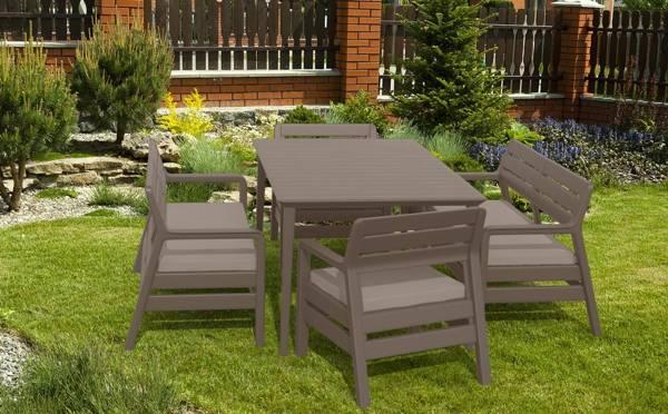 Meble ogrodowe DELANO + stół LIMA zestaw 6-osobowy - cappuccino