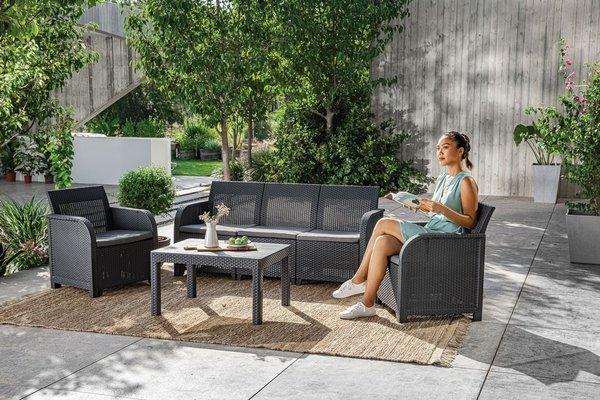 Meble ogrodowe ROSALIE SET MAX 5-osobowy - grafitowy