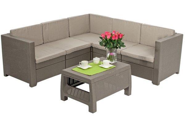 Narożnik ogrodowy PROVENCE 5-osobowy ze stolikiem - cappuccino