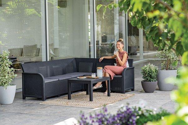 Narożnik ogrodowy ROSALIE 6-osobowy ze stolikiem - grafitowy