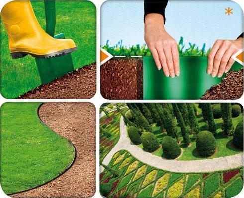 Obrzeże ogrodowe trawnikowe 10 cm x 9 m - ciemnozielone