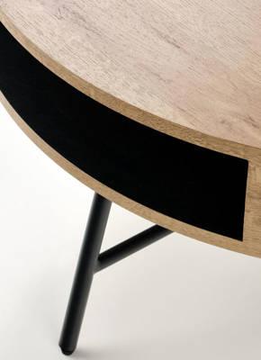 Okrągły stolik kawowy CAMILA z półką 80 cm - dąb złoty