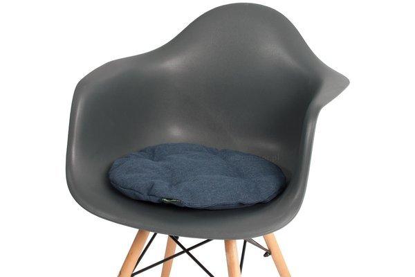 Poduszka okrągła na krzesło OFELIA 36 cm - granatowa