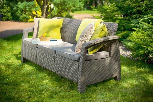 Sofa ogrodowa CORFU Max Love Seat 3-osobowy - cappuccino