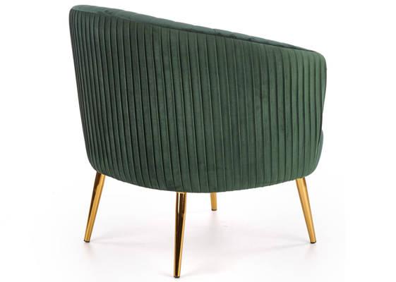 Wypoczynkowy fotel do salonu CROWN Gold - ciemna zieleń